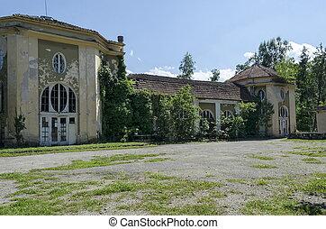 cidade, jardim, antigas, fragmento, sol, cassino, king's, varshets, parte, arquitetônico, banite, spa, conjunto