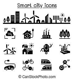 cidade, jogo, cidade, cidade, eco, sustentável, amigável, esperto, ícone
