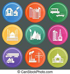 cidade, jogo, infraestrutura, ícones