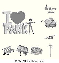 cidade, jogo, rua, illustration., objeto, parque, isolado, vetorial, icon., estoque