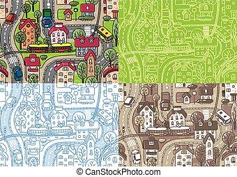 cidade, jogo, seamless, padrão
