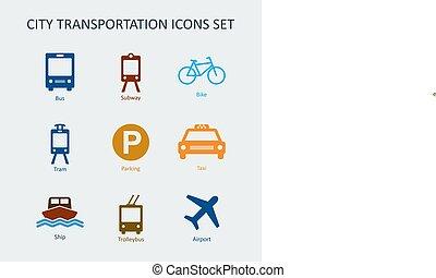 cidade, jogo, transporte, colorido, ícones, público