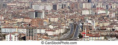 cidade, konya, colinas, vista