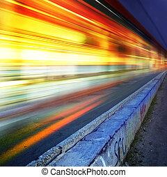 cidade, l, rodovia, noturna