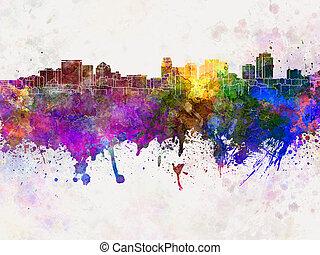 cidade, lago, aquarela, skyline, fundo, sal