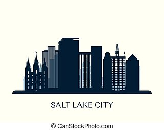 cidade, lago, silhouette., monocromático, skyline, sal