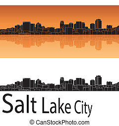 cidade, lago, skyline, fundo, laranja, sal