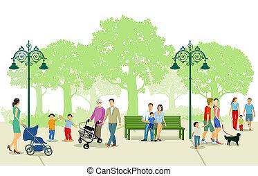 cidade, lazer, parque, pessoas