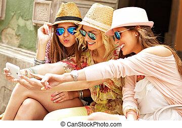 cidade, levando, amigos, grupo, selfie
