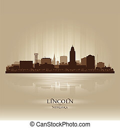 cidade, lincoln, nebraska, silueta, skyline