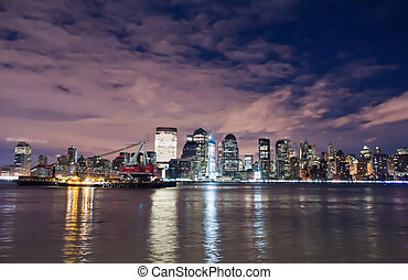 cidade, luzes,  midtown,  Skyline,  York, noturna, Novo,  Manhattan
