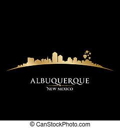 cidade, méxico, albuquerque, ilustração, silhouette., skyline, vetorial, novo
