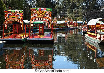 cidade, méxico, bote, xochimilco
