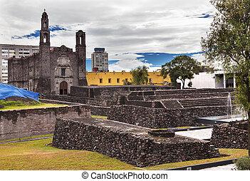 cidade, méxico, praça, local, aztec, três, culturas,...