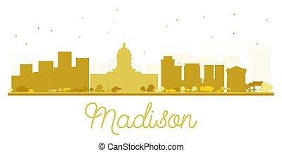 cidade, madison, dourado, skyline, silhouette.