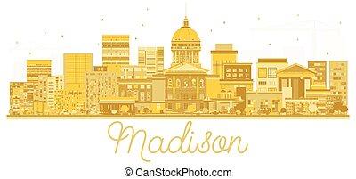 cidade, madison, silueta, dourado, skyline, reflections.
