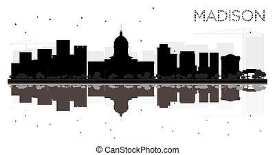 cidade, madison, silueta, skyline, pretas, reflections., branca