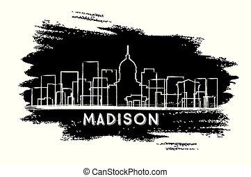 cidade, madison, wisconsin, sketch., mão, skyline, desenhado, silhouette.