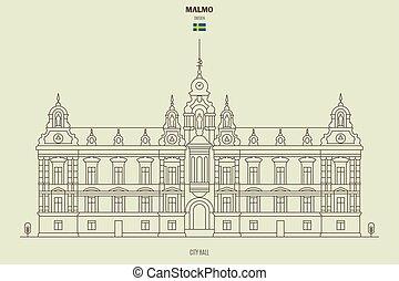 cidade, malmo, sweden., marco, corredor, ícone