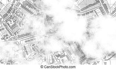 cidade, mapa, sobre, nuvens, drifting