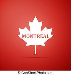 cidade, maple, apartamento, folha, nome, canadense, isolado, ilustração, experiência., vetorial, montreal, ícone, vermelho, design.
