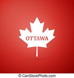 cidade, maple, apartamento, folha, nome, canadense, isolado, ilustração, experiência., vetorial, ottawa, ícone, vermelho, design.