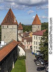 cidade, medieval, estónia, -, paredes, tallinn