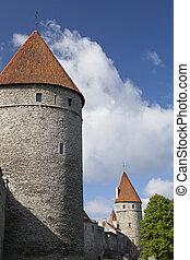 cidade, medieval, estónia, torres, -, wall., tallinn, parte