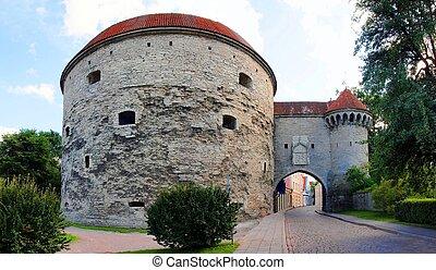 cidade, medieval, torres, -, wall., parte, tallinn