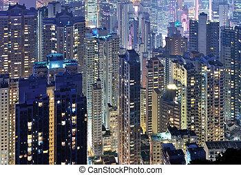 cidade, midtown, skyline, em, escuro