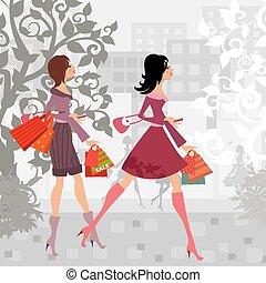 cidade, moda, compra, meninas, desenho, seu