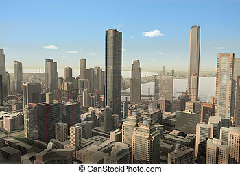 cidade, modelo, imaginário, ilustração, 3d