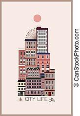 cidade, modernos, desenho, paisagem, apartamento