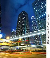 cidade, modernos, noturna
