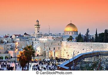 cidade, monte, jerusalém, antigas, templo