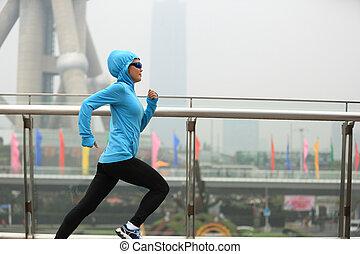 cidade, mulher, corredor, shanghai, jovem, executando, condicão física
