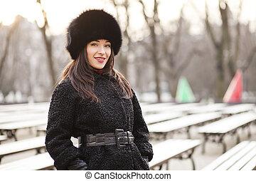 cidade, mulher, inverno, negócio