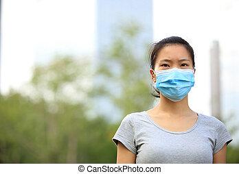 cidade, mulher, máscara, rosto, desgaste, asiático