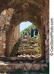 cidade, mystras, ruínas, antigas, grécia