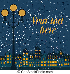 cidade, neve, noturna