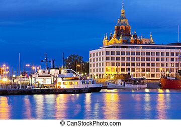 cidade, noite, antigas, helsínquia, finland, vista