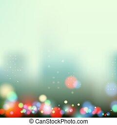 cidade, noite, luzes