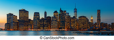cidade, noite, panorama, skyline, york, manhattan., novo