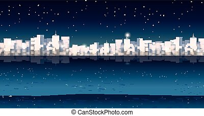 cidade, noturna, buildins, tempo