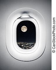 cidade, noturna, lua, janela, sob, avião