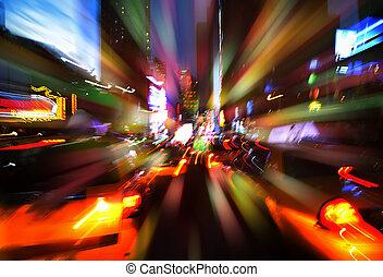 cidade, noturna, luzes, york, novo, iluminação