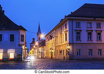 cidade, noturna, ruas, antigas, zagreb