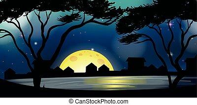 cidade, noturna, silueta, cena, tempo
