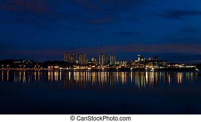 cidade, noturna, vista, cingapura