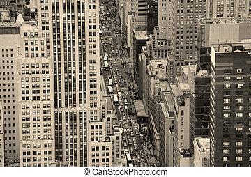 cidade nova iorque, manhattan, rua, vista aérea, preto branco